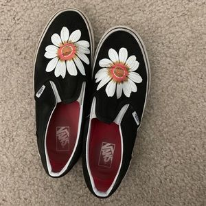 Black Slip On Vans with Sunflower on top